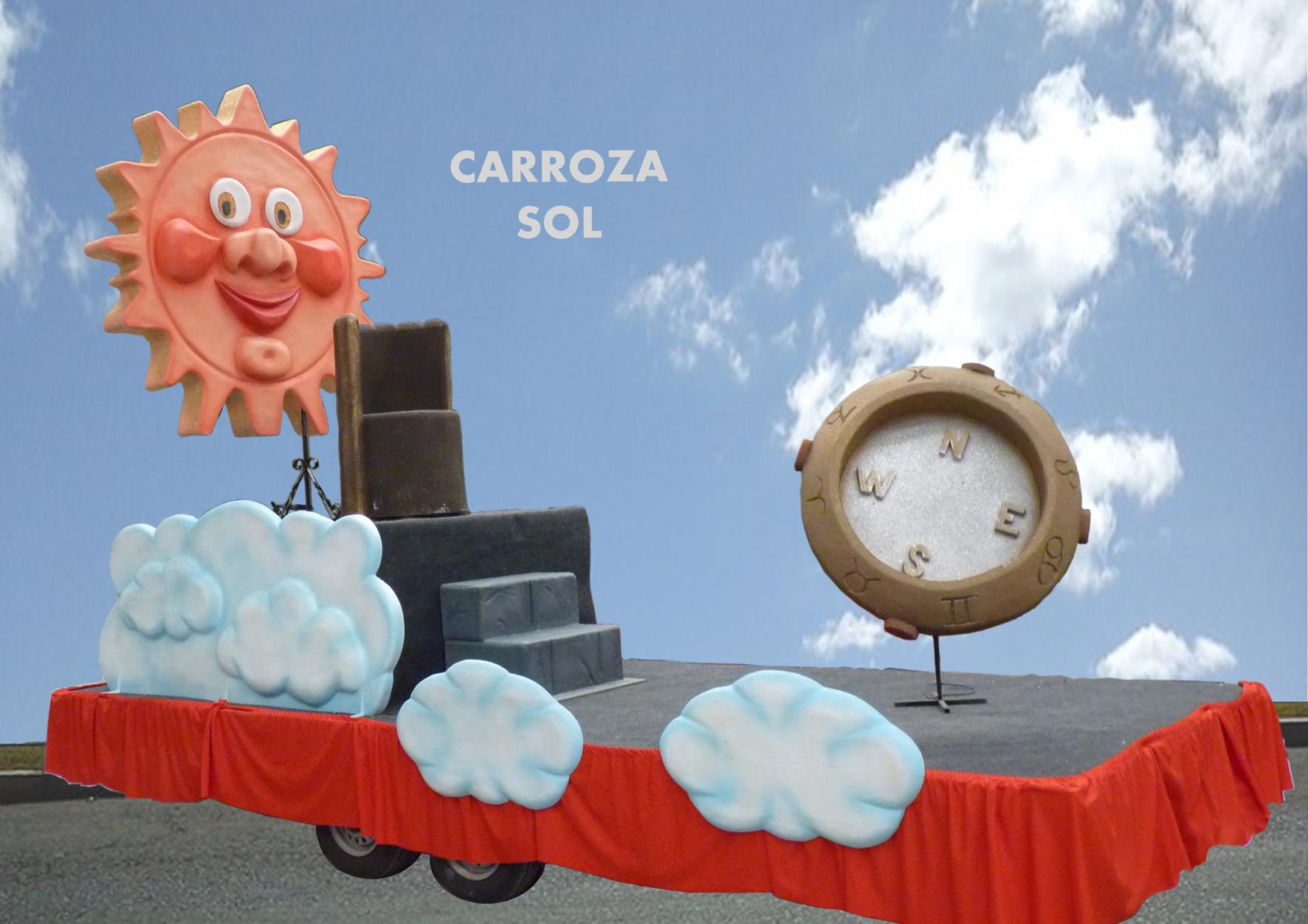 Carroza Fiesta Sol sonriente con brújula
