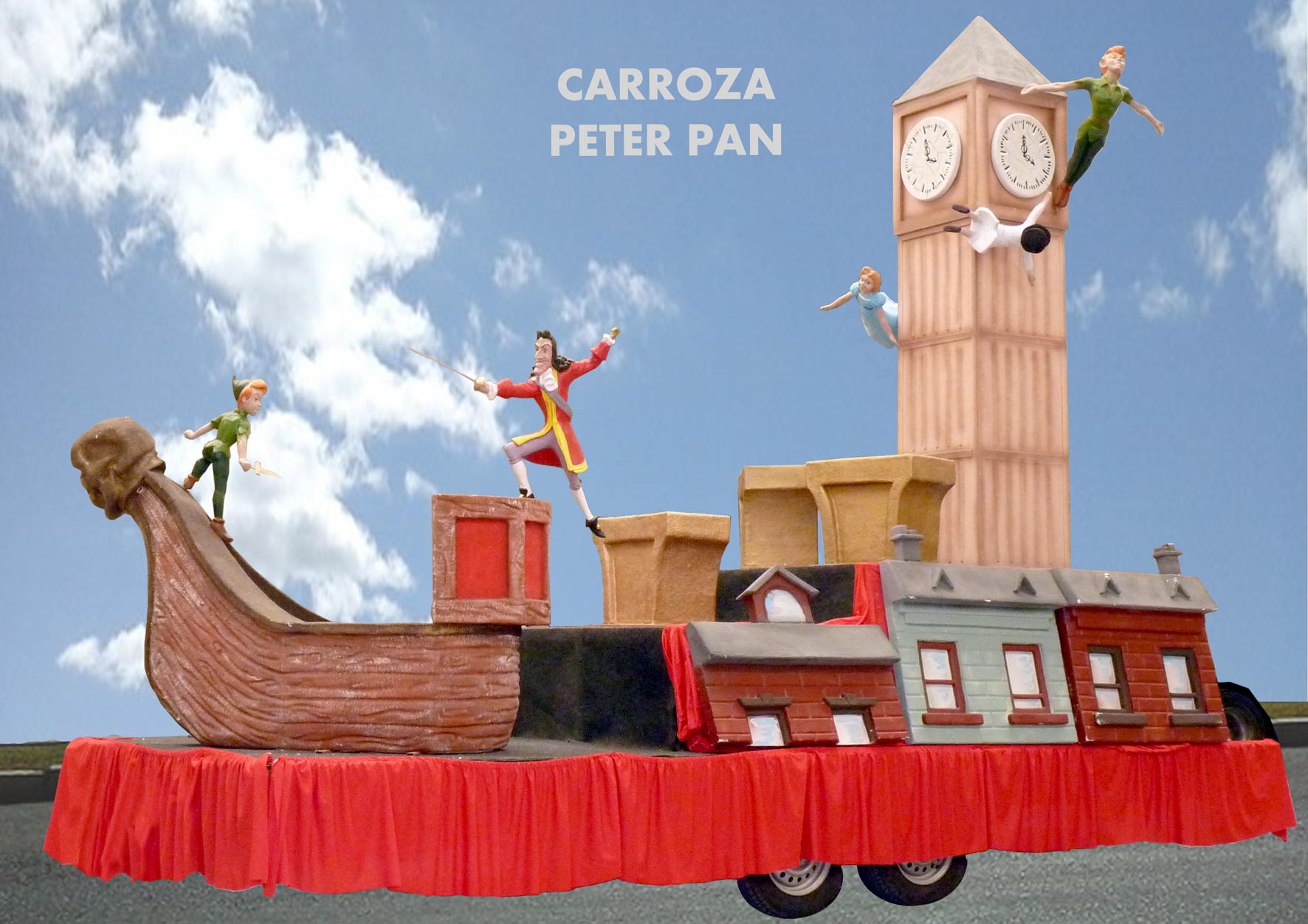 Carroza con el Big Ben, Peter Pan, el Capitán Garfio, etc