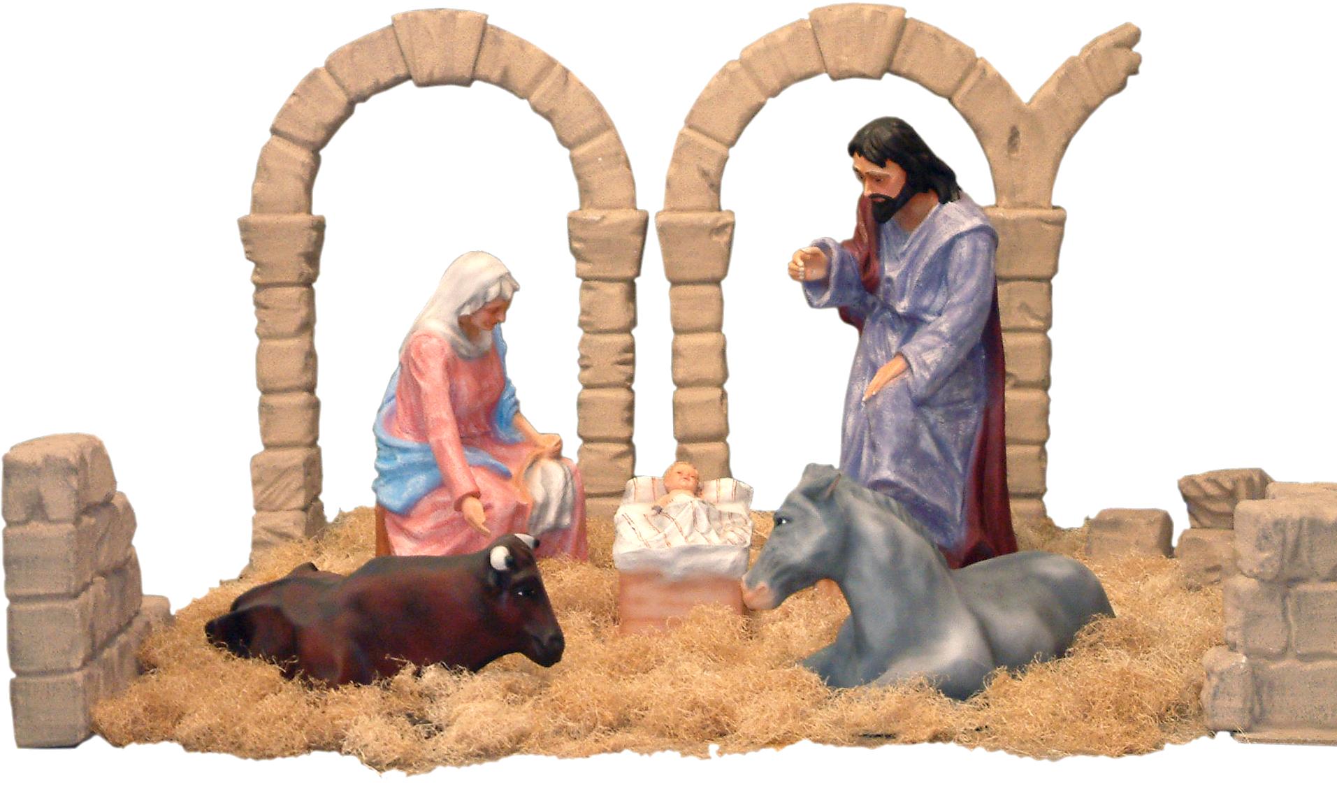 Figuras de belén de san josé,la virgen, el niño Jesús, la mula y el buey