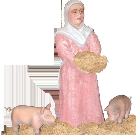 Figura de Belén Pastora con cerditos