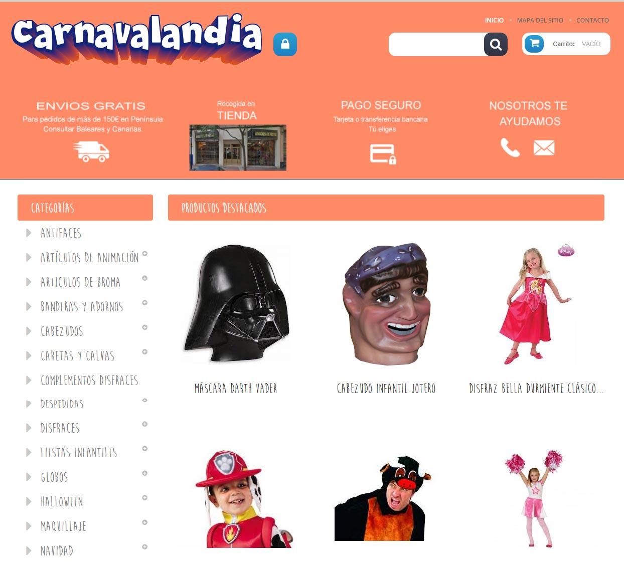 carnavalandia tienda de disfraces online